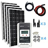 Giosolar 4x 100W solar panel kit battery charger monocrystalline Panel MPPT LCD controller complete