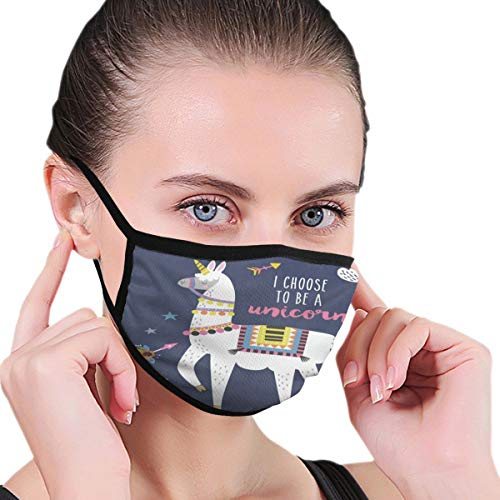 Funny Mouth Cover Dustproof Washable Reusable Cartoon Llama Alpaca Unicorn Arrow Cloud Stylish Respirator Protective Safety Warm Windproof for Women Men