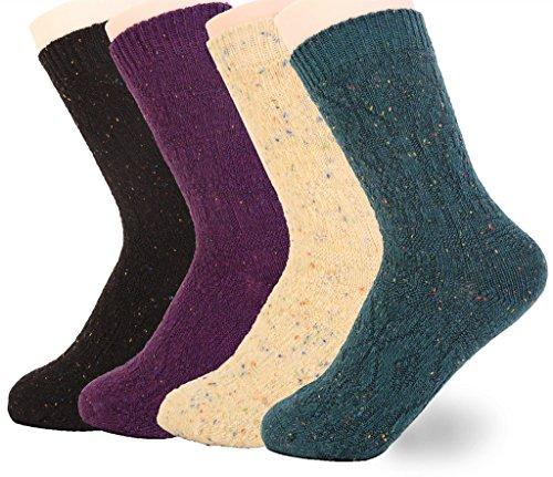 BeautyIn Women Knited Socks Fashion Casual Soft Wool Cotton Socks - 4 Pack