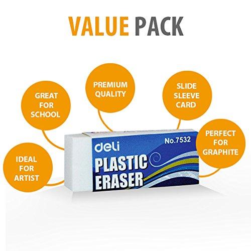 Globaldeli White Pencil Eraser- Pack of 30 Plastic Erasers, Size 1.89''. Premium Hi-Quality Polymer Eraser. Ideal Bulk Boxy Erasers for Kids, School, Art, Drafting, Office, Home