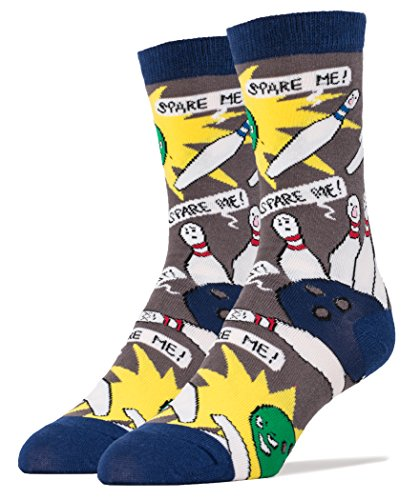 Oooh Yeah Mens Crew Funny Novelty Socks Spare Me Bowling