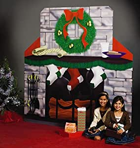 Amazon.com: Christmas Fireplace Standee Party Prop Standup