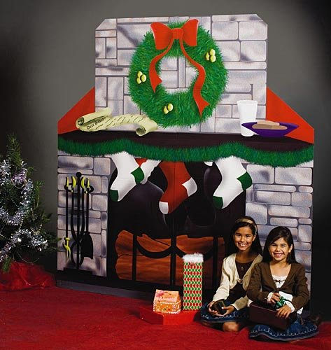 Christmas Fireplace Standee Party Prop Standup Photo Booth Prop Background Backdrop Party Decoration Decor Scene Setter Cardboard Cutout]()