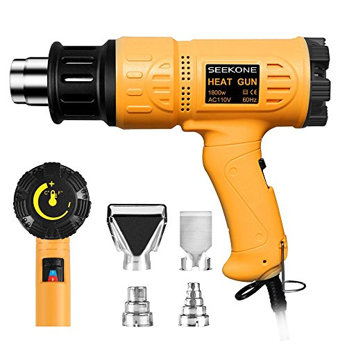- SEEKONE Heat Gun 1800W Heavy Duty Hot Air Gun Kit Variable Temperature Control with 2-Temp Settings 4 Nozzles 122℉~1202℉(50℃- 650℃)with Overload Protection for Crafts, Shrinking PVC, Stripping Paint