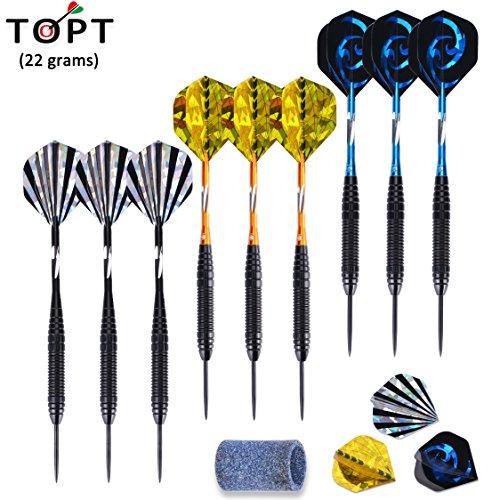 topt-9-pack-steel-tip-darts-22-grams-with-iron-barrel-aluminum-shafts-and-3-style-laser-flights-bonu