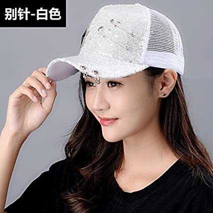 9e77dfeb85be0 Amazon.com  LONFENN Ladies Women Hats Summer Outdoor Visor Student Baseball Cap  Fashion Hats Cap - Pin - White Adjustable  Home   Kitchen