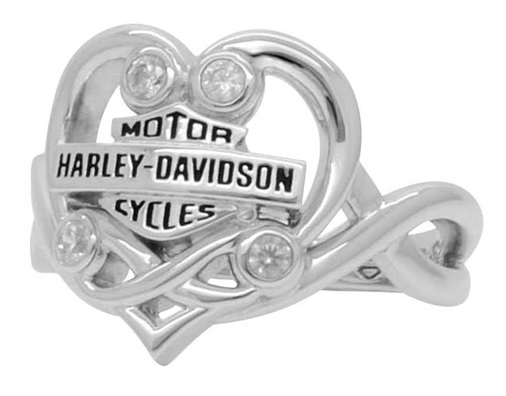 Harley-Davidson Women's Vintage Filigree Heart Ring, Silver Finish HDR0433 (8)