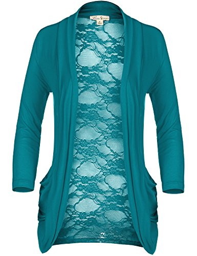 Long Sleeve Hidden Pocket Floral Lace Sexy Back Cardigans  017 Teal  US S
