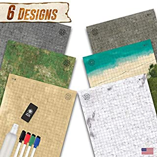 "Battle Grid Game Mat - 3 Pack Double Sided 24""x36"" - Portable DND RPG Table Top Role Playing Map - Dungeons and Dragons Starter Set - Tabletop Gaming Paper - Reusable Figure Board Game"