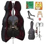 GRACE 4/4 Size BLACK Cello with Hard Case + Soft Carrying Bag+Bow+Rosin+Extra Set of Strings+Extra Bridge+Pitch Pipe+Black Cello Stand+Music Stand