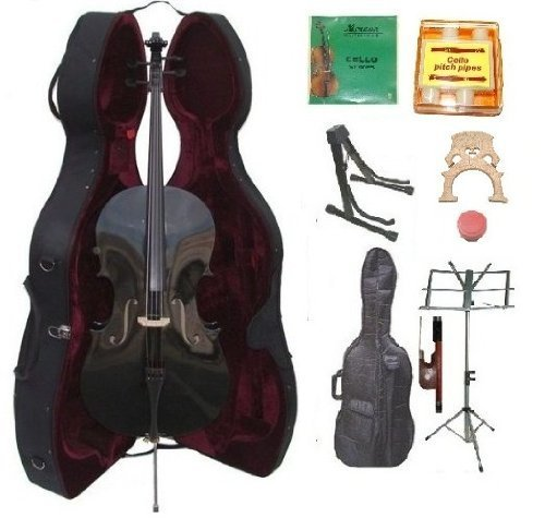 GRACE 4/4 Size BLACK Cello with Hard Case + Soft Carrying Bag+Bow+Rosin+Extra Set of Strings+Extra Bridge+Pitch Pipe+Black Cello Stand+Music Stand by Merano