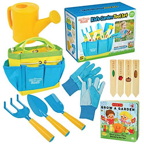 Kids Gardening Tools - Includes Sturdy Tote Bag, Watering Can, Gloves, Shovels, Rake, Stakes, and a Delightful Children