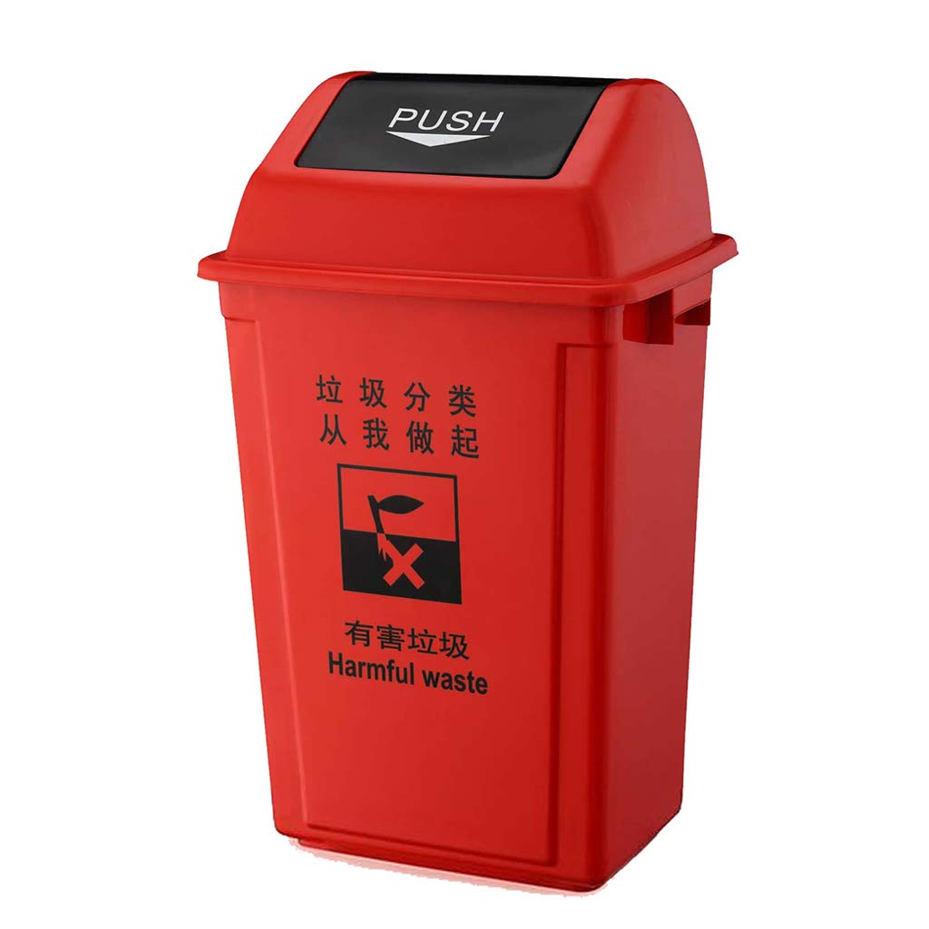 CSQ Plastic Trash Can, Sort and Recycle Trash Cans, 20/40/60L School Factory Kitchen Sorting Trash Can Indoor