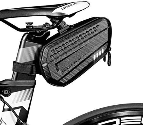 サドル自転車のサドルバッグハードシェル防雨バイクリアバッグ反射MTB用テールバッグサイクリングシートポストバッグバイクアクセサリー,黒,1.2L