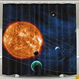 Abaysto Solar System Space Shower Curtain,Bathroom Curtains Bathroom Decor Sets with Hooks Shower Bath Curtain for Bathroom,Polyester Fabric Bathroom Shower Curtain