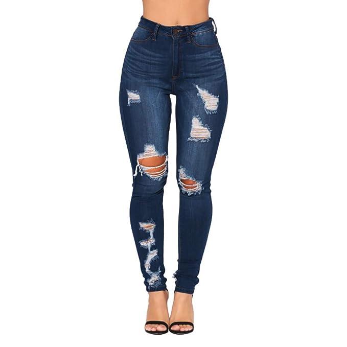 80cf0797e53c Geili Damen Jeanshose Slim Fit Lang Skinny Jeanshosen Super Elastisch Hochbund  Jeans Hosen Used Look Destroyed