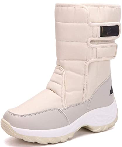 8db77c1bdc1 GFONE Ladies Winter Snow Boots Velcro Waterproof Warm Fur Mid Calf Wedge Platform  Boots Anti-