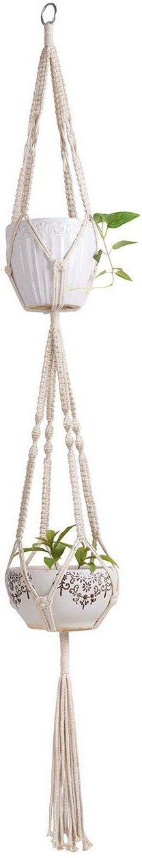 Mkono Macrame Double Plant Hanger Indoor Outdoor 2 Tier Hanging Planter Cotton Rope 4 Legs 67 inch