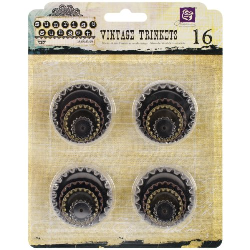 Metal Art Embellishments - Prima Marketing Sunrise Sunset Mechanicals Metal Vintage Trinkets, Bottle Caps, 16/Pack