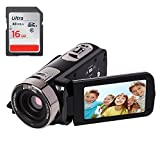 YSANY Remote Control IR Night Vision Handy Camera Camcorders Full HD 1080P 24.0MP 16X Digital Zoom Digital Video Camcorder with 3.0'' LCD 270°Rotation Screen (Free 16GB SD Card)