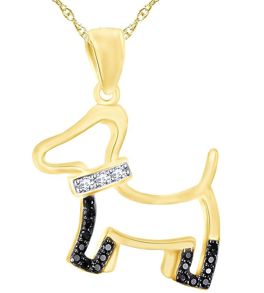 Wishrocks White /& Black CZ Dog Puppy Pendant Necklace in 14K Gold Over Sterling Silver