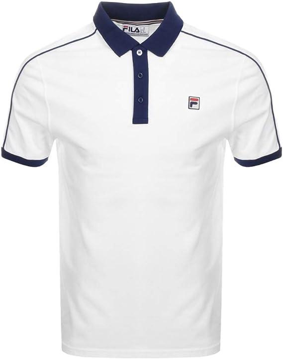 Fila Vintage Klein Polo Shirt White/Navy L: Amazon.es: Ropa y ...