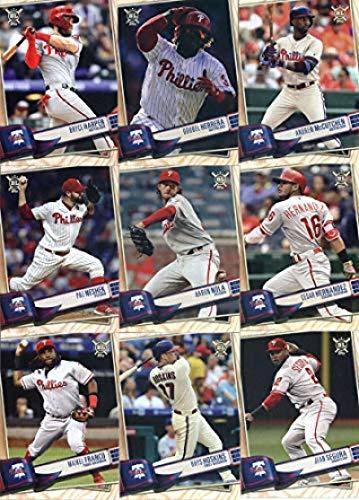 2019 BIG LEAGUE Baseball (Topps product) Philadelphia Phillies Team Set (Stock Photo Used, all cards will be base version) of 13 Cards: Nick Williams(#76), Jake Arrieta(#88), J.T. Realmuto(#96), Scott Kingery(#117), Jean Segura(#155), Rhys Hoskins(#228), Maikel Franco(#229), Cesar Hernandez(#232), Aaron Nola(#239), Pat Neshek(#243), Andrew McCutchen(#265), Odubel Herrera(#278), Bryce Harper(#320)
