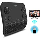 TV Remote Control, Uniplay Latest Multi-Function 2.4G Wireless Remote Control Gamepad Mouse Mini Keyboard for Android TV Box Computer Notebook Windows Replacement Stick Amazon Fire Box (U6, Black)