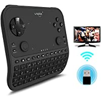 TV Remote Control, Uniplay Latest Multi-Function 2.4G Wireless Remote Control Gamepad Mouse Mini Keyboard for Android TV Box Computer Notebook Windows Replacement Xbox 360,TV&PS4 (U6, Black)
