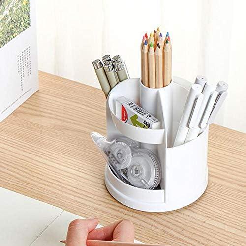 QLING Schreibtisch-Organizer, Stiftehalter, 360 Grad drehbar, multifunktional, Schreibwaren, Aufbewahrungsbox, Schule, Büro, weiß, Free Size