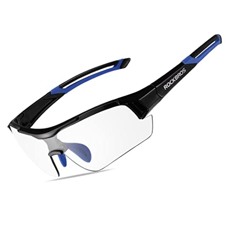 c5b5d571dbc0 RockBros Unisex Photochromic Cycling Sunglasses UV Protection for Outdoor  Sport Black Blue