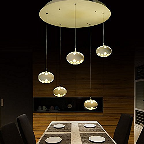 Upgrade LED Pendant Ceiling Light with 5 Linear Suspension Kitchen Island Lighting (125x5) by Modin Home Inc
