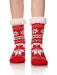 Women's Super Warm Fleece Lining Snowflake Slipper Socks Cozy Winter Socks