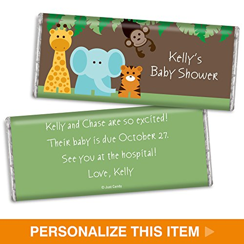 Personalized Baby Shower HERSHEY'S Candy Bar Wrappers - Jungle Buddies (25 (Theme Candy Bar)