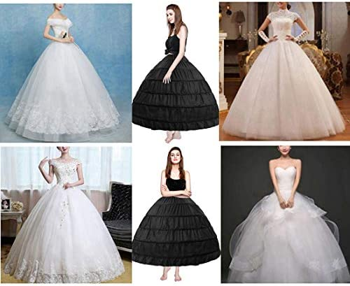 MeiLiMiYu Full Shape 6 Hoop Skirt Ball Gown Petticoat Underskirt Slip for Wedding Dress Adjustable Waist