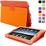 Snugg iPad 2 Case - Smart Cover with Kick Stand & Lifetime Guarantee (Orange Leather) for Apple iPad 2