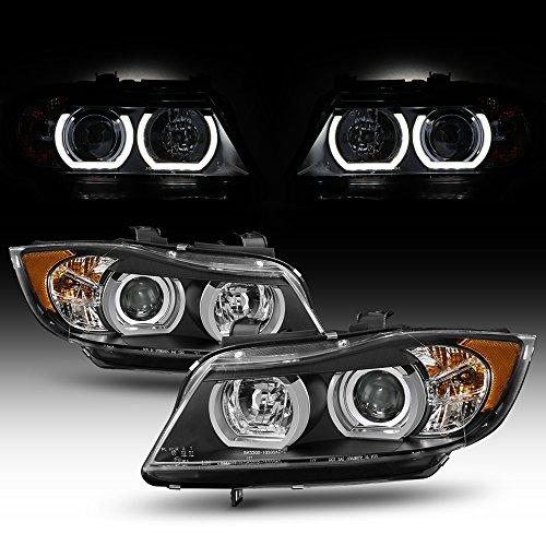 (For 2006-2008 BMW E90 3-Series Sedan [HID AFS model] Black Bezel Dual U-Halo Ring LED Projector Headlights)