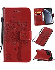 Ogmuk Fashion Premium Red Emboss Tree Cat Butterfly Flowers Strap Case for Girly Women Stand Lovely Stylish Kickstand Credit Cards Slot Cash PU Leather Flip Wallet Case for Samsung Galaxy A51