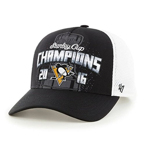 Pittsburgh Penguins '47 2016 Stanley Cup Champions Locker Room Adjustable Hat - Black/White