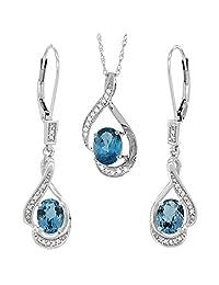 14K White Gold Diamond Natural London Blue Topaz Lever Back Earrings Necklace Set Oval 7x5mm,18 inch long