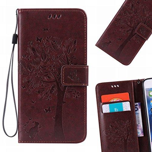 LEMORRY Xiaomi Redmi Note 4X Funda Estuches Pluma Repujado Cuero Flip Billetera Bolsa Piel Slim Bumper Protector Magnética Cierre TPU Silicona Carcasa Tapa para Xiaomi Redmi Note 4, Árbol Suerte (Luz  marrón