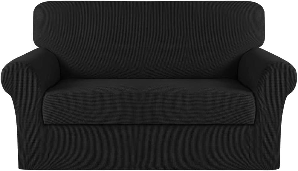 Turquoize Stretch Sofa Slipcover 2 Piece Loveseat Cover with Separate Cushion Cover Couch Cover for 2 Cushion Couch Furniture Protector with Elastic Bottom High Spandex Washable (Medium, Black)