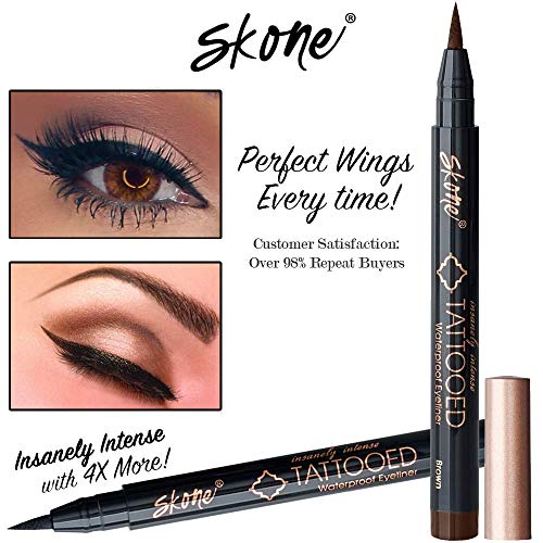 Skone Insanely Intense Tattooed Liquid Eyeliner - Waterproof Longlasting Smudge Proof - Get 4X More (Brown Eyeliner)