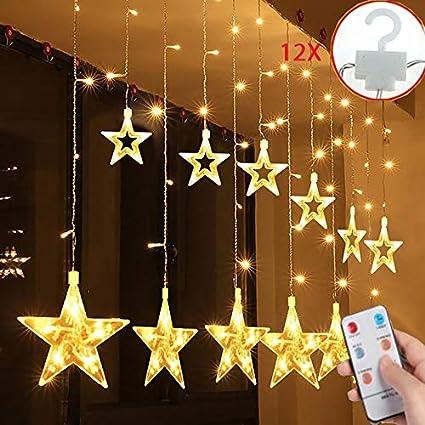 Salcar LED Lichtervorhang 12 Sterne Lichterkette wasserdicht für Fenster, Garten, Haus, LED Sternenvorhang Dekorative, IR Fer