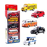 KIDAMI Die Cast Metal Vehicles Toy Set of 5, Openable Doors Pull Back Toy Cars Gift Pack for Kids