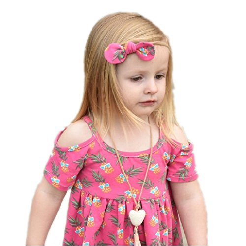 Birdfly Little Girls Tropical Pineapple Dresses with Bows Headband Hawaii Vibe Cute Cold-Shoulder Tops Toddlers Casual Sun Dress for School Beach Travel Holidays (3T, Hot Pink)