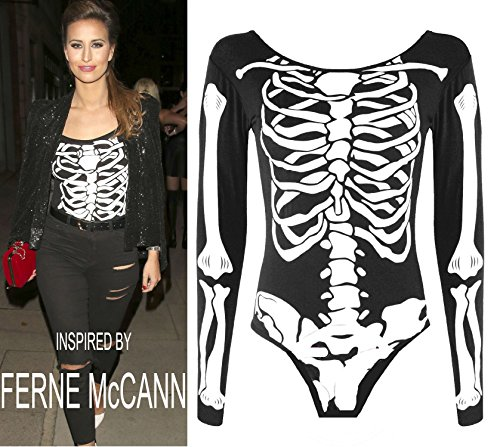 Crazy Girls Womens Halloween Skull Skeleton Print Jumpsuit Bodycon Dress Costume (M/L-US8/10, Skeleton Print Bodysuit)