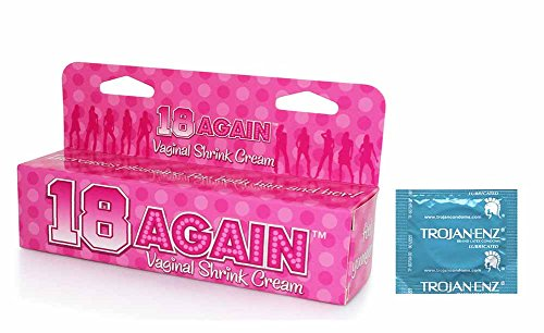18 Again Vaginal Shrink Tightening Cream Feel Young Again for Women of All Ages Come with 12 Pack Trojan Enz Premium Lubricated Latex Condoms Bulk