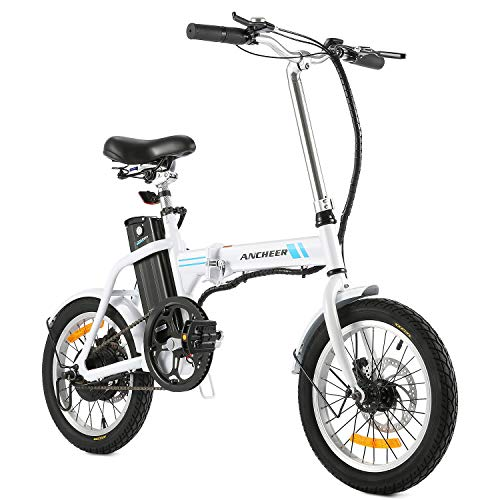 ANCHEER Folding Electric Bike White 16 Inch Collapsible Electric Commuter Bike Ebike with 36V 8Ah Lithium Battery