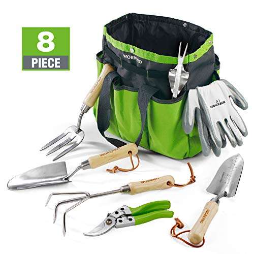 WORKPRO Garden Tools Set, 8 Piece, Stainless Steel Heavy Duty Gardening Tools with Wooden Handle, Including Garden Tote, Gloves, Trowel, Hand Weeder, Cultivator and More-Gardening Gifts For Women Men (Best Gardening Tools For)